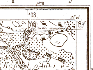 Reduced fragment of topographic map pl--wig--025k--P38S28-B--(1944)--N052-45_E019-00--N052-40_E019-10