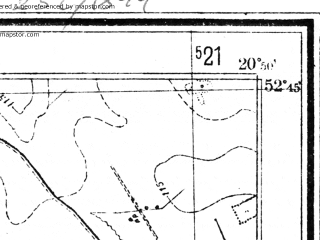 Reduced fragment of topographic map pl--wig--025k--P38S31-C--(1951)--N052-45_E020-40--N052-40_E020-50