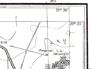 Reduced fragment of topographic map pl--wig--025k--P38S31-G--(1951)--N052-35_E020-20--N052-30_E020-30