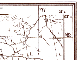 Reduced fragment of topographic map pl--wig--025k--P38S33-B--(1940)--N052-45_E021-30--N052-40_E021-40