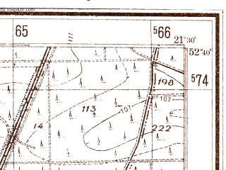 Reduced fragment of topographic map pl--wig--025k--P38S33-D--(1940)--N052-40_E021-20--N052-35_E021-30; towns and cities Wyszkow