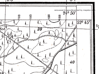 Reduced fragment of topographic map pl--wig--025k--P38S39-C--(1932)--N052-45_E024-40--N052-40_E024-50
