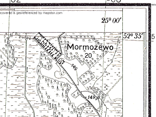 Reduced fragment of topographic map pl--wig--025k--P38S40-G--(1931)--N052-35_E024-50--N052-30_E025-00; towns and cities Bereza