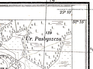 Reduced fragment of topographic map pl--wig--025k--P38S40-H--(1931)--N052-35_E025-00--N052-30_E025-10