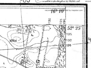 Reduced fragment of topographic map pl--wig--025k--P39S22-E--(1935)--N052-25_E016-00--N052-20_E016-10