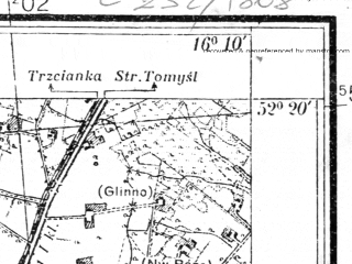 Reduced fragment of topographic map pl--wig--025k--P39S22-H--(1935)--N052-20_E016-00--N052-15_E016-10; towns and cities Nowy Tomysl
