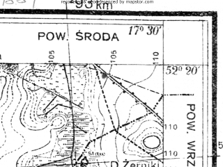 Reduced fragment of topographic map pl--wig--025k--P39S25-G--(1934)--N052-20_E017-20--N052-15_E017-30