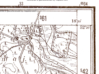 Reduced fragment of topographic map pl--wig--025k--P39S27-G--(1944)--N052-20_E018-20--N052-15_E018-30