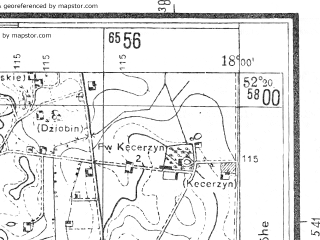 Reduced fragment of topographic map pl--wig--025k--P39S27-I--(1944)--N052-20_E018-40--N052-15_E018-50