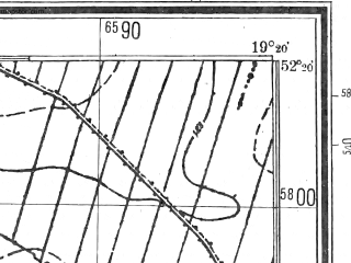 Reduced fragment of topographic map pl--wig--025k--P39S28-I--(1944)--N052-20_E019-10--N052-15_E019-20; towns and cities Krosniewice
