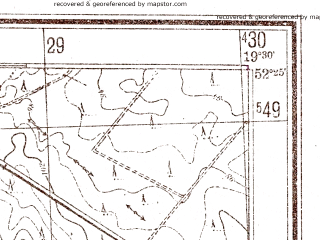 Reduced fragment of topographic map pl--wig--025k--P39S29-D--(1944)--N052-25_E019-20--N052-20_E019-30