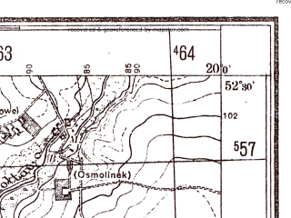 Reduced fragment of topographic map pl--wig--025k--P39S30-A--(1944)--N052-30_E019-50--N052-25_E020-00