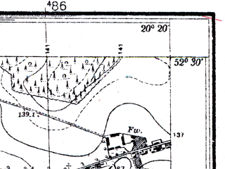 Reduced fragment of topographic map pl--wig--025k--P39S30-C--(1952)--N052-30_E020-10--N052-25_E020-20