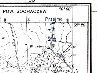 Reduced fragment of topographic map pl--wig--025k--P39S30-G--(1936)--N052-20_E019-50--N052-15_E020-00; towns and cities Kiernozia