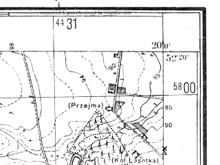Reduced fragment of topographic map pl--wig--025k--P39S30-G--(1944)--N052-20_E019-50--N052-15_E020-00; towns and cities Kiernozia