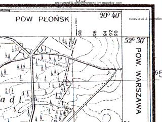 Reduced fragment of topographic map pl--wig--025k--P39S31-B--(1951)--N052-30_E020-30--N052-25_E020-40