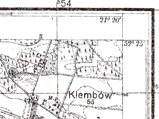 Reduced fragment of topographic map pl--wig--025k--P39S32-F--(1952)--N052-25_E021-10--N052-20_E021-20; towns and cities Wolomin, Radzymin