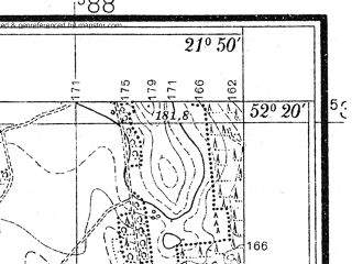 Reduced fragment of topographic map pl--wig--025k--P39S33-I--(1939)--N052-20_E021-40--N052-15_E021-50