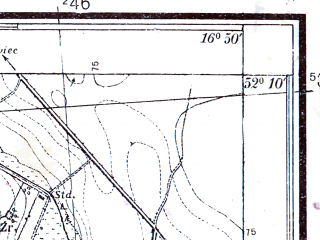 Reduced fragment of topographic map pl--wig--025k--P40S23-F--(1933)--N052-10_E016-40--N052-05_E016-50