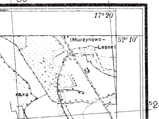 Reduced fragment of topographic map pl--wig--025k--P40S24-F--(1933)--N052-10_E017-10--N052-05_E017-20