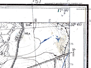 Reduced fragment of topographic map pl--wig--025k--P40S24-G--(1933)--N052-05_E016-50--N052-00_E017-00