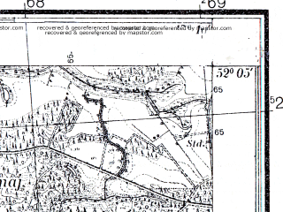 Reduced fragment of topographic map pl--wig--025k--P40S24-H--(1933)--N052-05_E017-00--N052-00_E017-10
