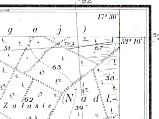 Reduced fragment of topographic map pl--wig--025k--P40S25-D--(1934)--N052-10_E017-20--N052-05_E017-30