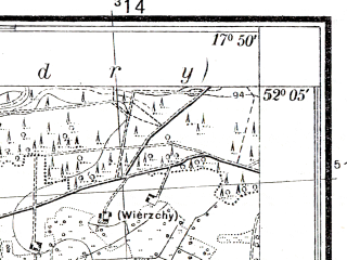 Reduced fragment of topographic map pl--wig--025k--P40S25-I--(1934)--N052-05_E017-40--N052-00_E017-50