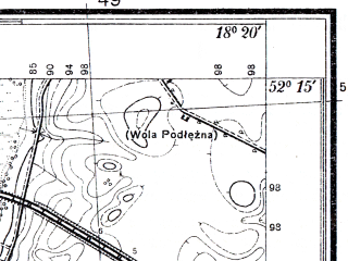 Reduced fragment of topographic map pl--wig--025k--P40S26-C--(1935)--N052-15_E018-10--N052-10_E018-20; towns and cities Konin