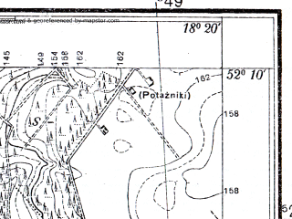 Reduced fragment of topographic map pl--wig--025k--P40S26-F--(1935)--N052-10_E018-10--N052-05_E018-20