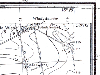 Reduced fragment of topographic map pl--wig--025k--P40S26-I--(1935)--N052-05_E018-10--N052-00_E018-20