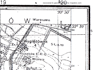 Reduced fragment of topographic map pl--wig--025k--P40S31-F--(1951)--N052-10_E020-40--N052-05_E020-50; towns and cities Pruszkow, Brwinow