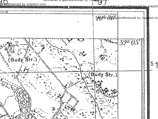 Reduced fragment of topographic map pl--wig--025k--P40S31-G--(1933)--N052-05_E020-20--N052-00_E020-30; towns and cities Zyrardow