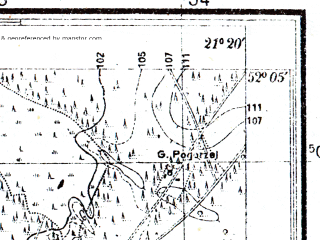 Reduced fragment of topographic map pl--wig--025k--P40S32-I--(1952)--N052-05_E021-10--N052-00_E021-20