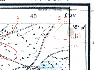 Reduced fragment of topographic map pl--wig--025k--P40S37-F--(1925)--N052-10_E023-40--N052-05_E023-50; towns and cities Brest