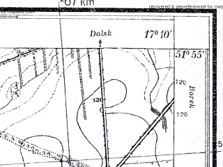 Reduced fragment of topographic map pl--wig--025k--P41S24-E--(1933)--N051-55_E017-00--N051-50_E017-10; towns and cities Gostyn
