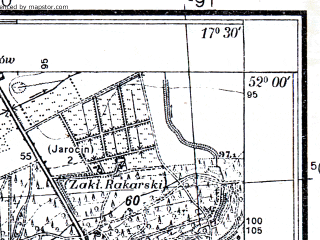 Reduced fragment of topographic map pl--wig--025k--P41S25-A--(1933)--N052-00_E017-20--N051-55_E017-30; towns and cities Jarocin