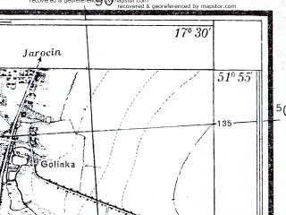Reduced fragment of topographic map pl--wig--025k--P41S25-D--(1933)--N051-55_E017-20--N051-50_E017-30