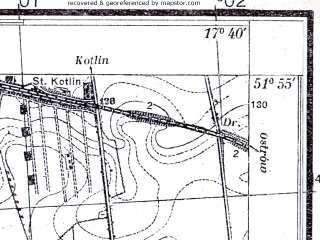 Reduced fragment of topographic map pl--wig--025k--P41S25-E--(1933)--N051-55_E017-30--N051-50_E017-40