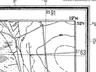 Reduced fragment of topographic map pl--wig--025k--P41S28-C--(1944)--N052-00_E019-10--N051-55_E019-20; towns and cities Ozorkow