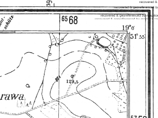 Reduced fragment of topographic map pl--wig--025k--P41S28-D--(1944)--N051-55_E018-50--N051-50_E019-00; towns and cities Poddebice