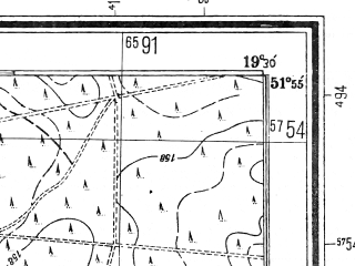 Reduced fragment of topographic map pl--wig--025k--P41S28-F--(1944)--N051-55_E019-10--N051-50_E019-20