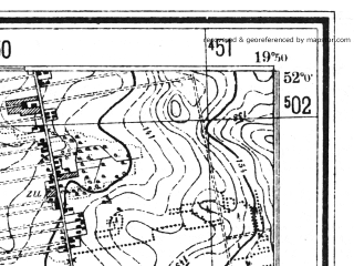 Reduced fragment of topographic map pl--wig--025k--P41S29-C--(1943)--N052-00_E019-40--N051-55_E019-50