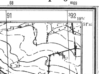Reduced fragment of topographic map pl--wig--025k--P42S28-G--(1944)--N051-35_E018-50--N051-30_E019-00