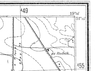 Reduced fragment of topographic map pl--wig--025k--P42S29-I--(1940)--N051-35_E019-40--N051-30_E019-50