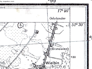 Reduced fragment of topographic map pl--wig--025k--P43S25-B--(1933)--N051-30_E017-30--N051-25_E017-40