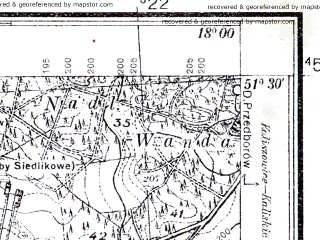 Reduced fragment of topographic map pl--wig--025k--P43S26-A--(1936)--N051-30_E017-50--N051-25_E018-00; towns and cities Ostrzeszow