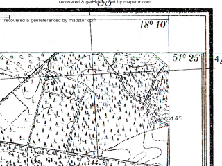 Reduced fragment of topographic map pl--wig--025k--P43S26-E--(1936)--N051-25_E018-00--N051-20_E018-10