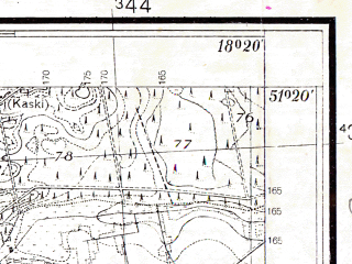 Reduced fragment of topographic map pl--wig--025k--P43S26-I--(1937)--N051-20_E018-10--N051-15_E018-20