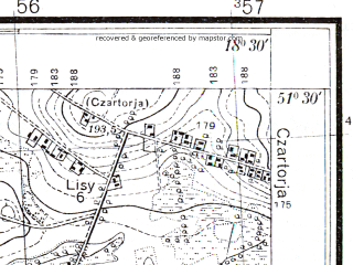 Reduced fragment of topographic map pl--wig--025k--P43S27-A--(1933)--N051-30_E018-20--N051-25_E018-30